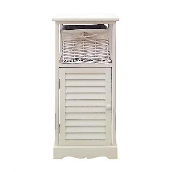 Rebecca Furniture Bedside Cabinet White Wood 1 Basket 1 Door Bath 72x31x29