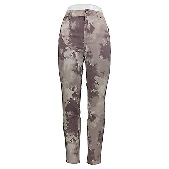 LOGO by Lori Goldstein Women's Jeans Printed Twill Ankle Beige A343692