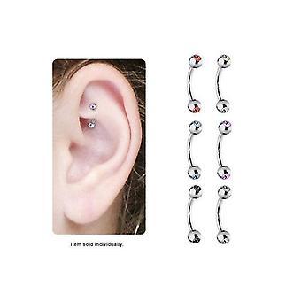 Cz gems high polish titanium curved rook earring