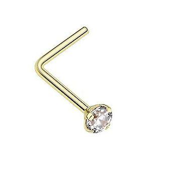 Anel de nariz l-shape 9k ouro amarelo maciço pino 2mm zircônia cúbica 20ga