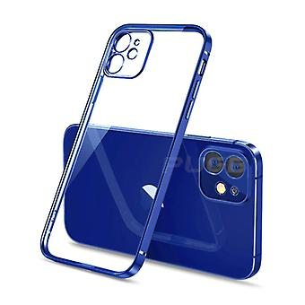 PUGB iPhone XS mål Lyx Frame Bumper - Mål Täcka silikon TPU Anti-Shock Blå