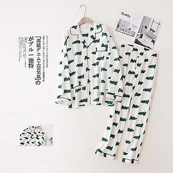 Cute White Bear 100% Brushed Cotton Pajama Sets Autumn Fashion
