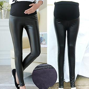 Pu Leather Pregnant Women's Leggings, Autumn Winter Warm Pants For Femme