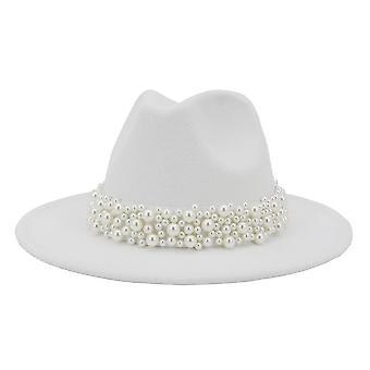 Women Wide Brim Imitation Wool Felt Fedora Hats
