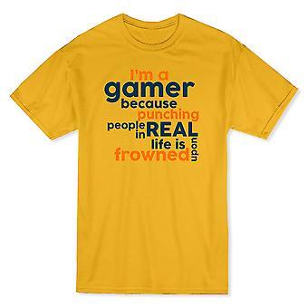 """「私はゲーマーに人々 を打つので眉をひそめた""""メンズ t シャツを引用"""