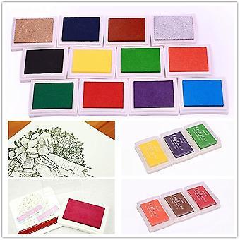 12x Ink Stamp Pads - Finger Pressure Ink Art For Paper Scrapbook Painting Art Diy Craft - 12 Colours