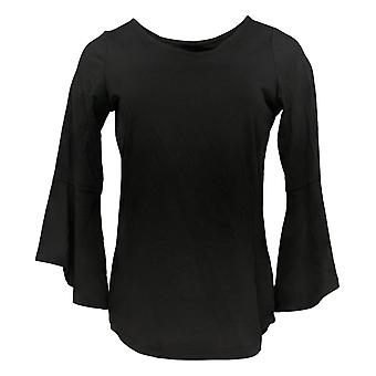 Belle By Kim Gravel Mujeres's Top Essentials Bell Sleeve Negro A301577