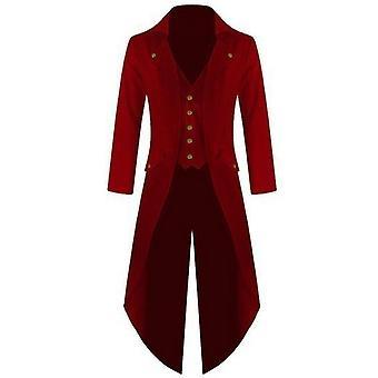 Men Blazer, Retro Gothic Button Tailcoat Formal Jacket