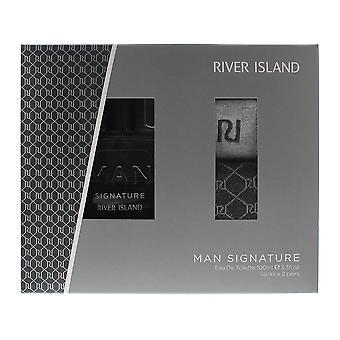 River Island Man Signature Eau de Toilette 100ml & 2 Pairs Of Socks Size UK 7-11