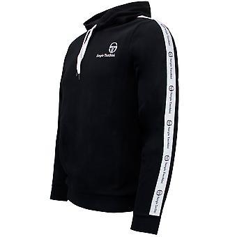 Sergio Tacchini Mens Devok Sweater Taped Hoodie Black Jumper 038356 166