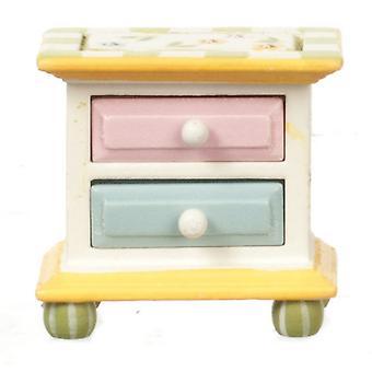 Dolls House Hand Painted Springtime Bedside Chest Bedroom Furniture