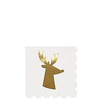Meri Meri Gold Sparkle Reindeer Small Cocktail Paper Napkins Christmas x 16