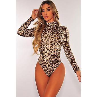 Mock Neck, lange Ärmel - Leopard Print Body