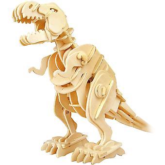 ROBOTIME 3D Puzzle - Robotic Dinosaur Toys - Wooden Sound Controlled Walking T- rex