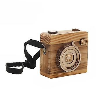 יצירתי בעבודת יד עץ מלאכה תיבת מוסיקה שעון מצלמה צעצוע