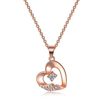 Rose Gold Stone in Heart Pendant Necklace