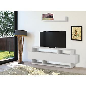Mobile TV Port Rela Biały kolor w Melamine Truciolare, L125xP30xA42 cm, L70xP20xA12 cm
