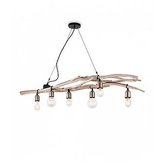 Lámpara Colgante De Madera Driftwood 6 Bombillas