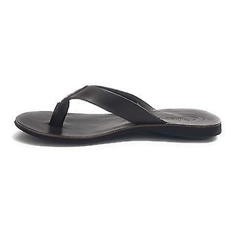 Men's Shoes Elite Slipper Leather Flip Flops Black Color Us18el15