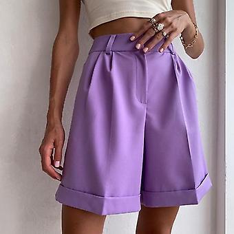 Női magas derék pocket fekete széles láb laza nyári lila rövidnadrág