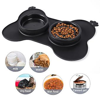 Double Dog Food Bowl With No-spill Non Skid Silicone Mat Eco-friendly Non-toxic