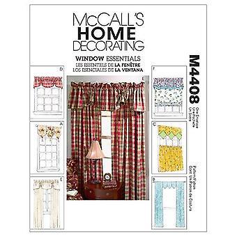 McCalls ompelu kuvio 4408 Ikkunan perusasiat Valances Paneelit Yksi koko leikkaamaton