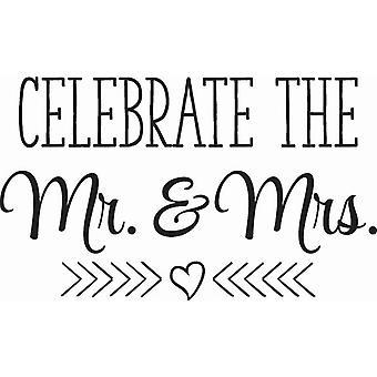 Hampton Art Wood Mounted Stamp - Celebrate Mr and Mrs