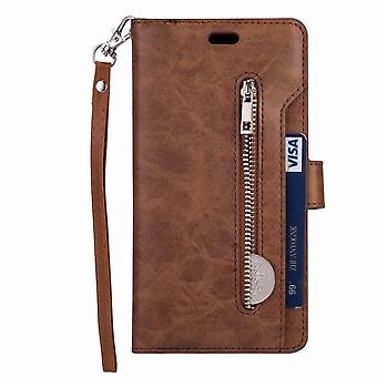 Leather case with 9 card slots for Samsung Galaxy A50 - Brown