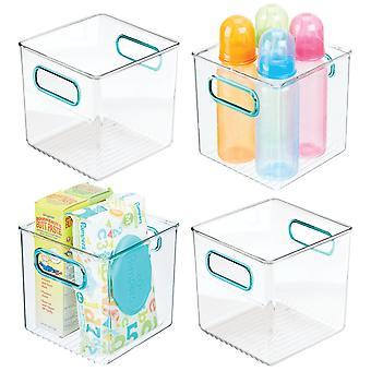 mDesign Plastic Storage Organizer Bin for Kids Supplies, 4 Pack - Clear/Blue