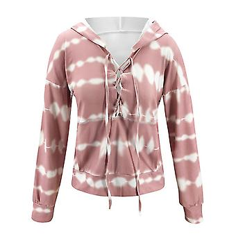 Ladies Autumn/winter Printed Casual Strappy Hoodie