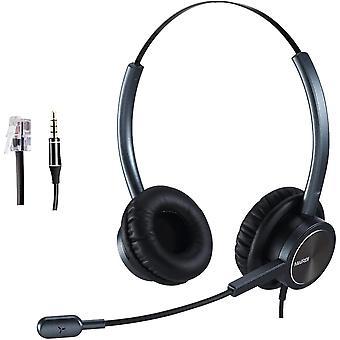 Telefon Headset mit Noise Cancelling Mikrofon büro CallCenter Kopfhörer, mit RJ11 und 3.5mm Klinke