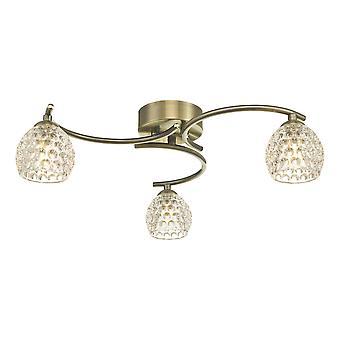 DAR NAKITA Semi Flush Loft Light Light Antikke Messing Med Dimpled Glas, 3x G9