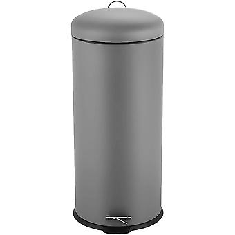 DZK Stainless Steel Waste Bin with Lid Round Trash Can Capacity Approx. 30 l, Color:Grey