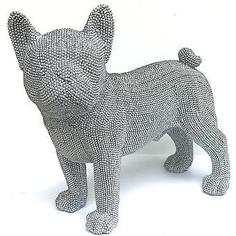 Silver konst fransk bulldogg står vid Leonardo