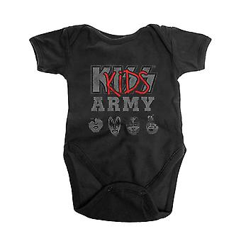Kiss Baby Grow Army Band Logo new Official Black 0 to 24 Months