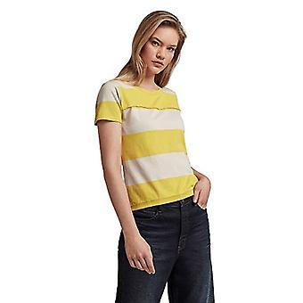 G-STAR RAW Wide Stripe Slim T-Shirt, Whitebait/Yellow Light Cab Rugby C340-c393, S Woman