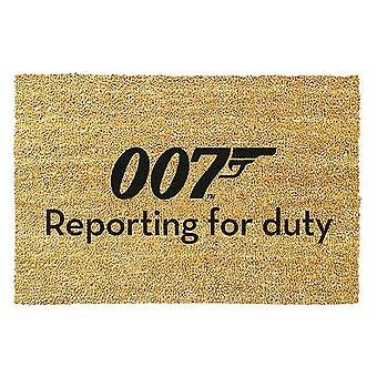 James Bond doormat 007 Reporting for Duty printed, made of coconut fiber, bottom made of PVC.