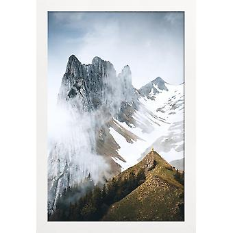 JUNIQE Print - Lone Ranger by @noberson - Mountains Poster in Brown & White