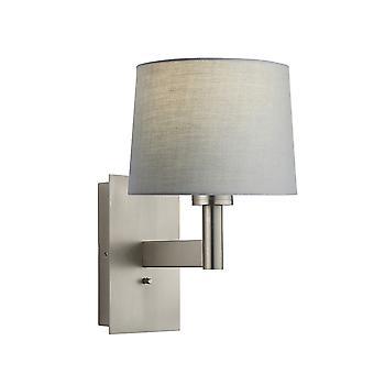 Wandlamp mat nikkel plaat, grijze stof ronde schaduw met usb-aansluiting