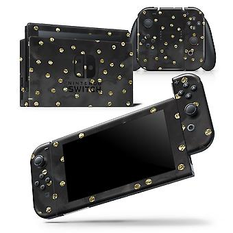 Black Watercolor And Gold Glimmer Polka Dots - Skin Wrap Decal