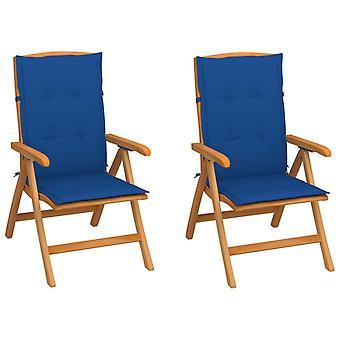 vidaXL Trädgårdsstolar 2 st. med Royal Blue Cushion Solid Wood Teak