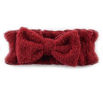 Bow Hair Band With Ruffled Elastic Face Wash Headband(Red)