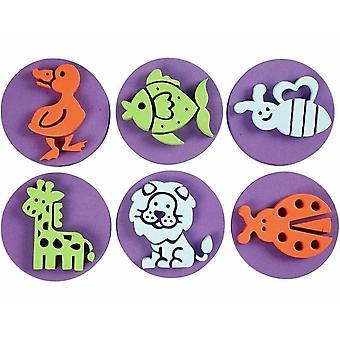6 Dubbelzijdige Animal Foam Paint Stamps voor Kids Crafts | Spons verf stempels