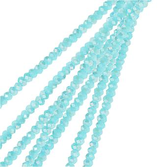 Crystal Beads, Faceted Rondelle 1.5x2.5mm, 2 Strands, Opaque Blue AB