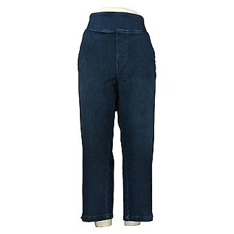 Belle By Kim Gravel Women's Plus Jeans Pull-On Cropped Blue A301822