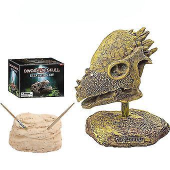 Pachycephalosaurus 두개골 화석 과학 키트 교육 고고학 생물학 생일 선물