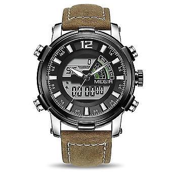 Computer racks mounts military sport style led chronograph luminous dual display digital watch leather men wrist watch