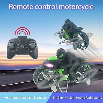 Remote control motorcycles 2.4G 2 in 1 land air fly motorcycle headless mode remote control four axis drone racing stunt toys
