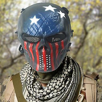 Masque d'équipement de terrain Bleu et Rouge Tactique Masque Airsoft Visage complet Crâne