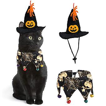 Homemiyn Halloween Cat Bandana Set With Wizard Hat, Puppy Bell Collar Cosplay Witch Para Gatos Pequeños Y Perros